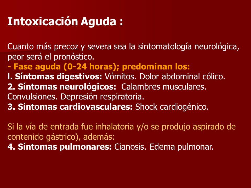 Intoxicación Aguda : Cuanto más precoz y severa sea la sintomatología neurológica, peor será el pronóstico. - Fase aguda (0-24 horas); predominan los: