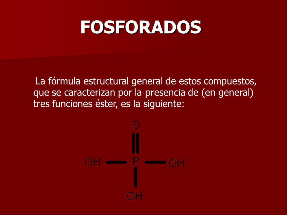 La fórmula estructural general de estos compuestos, que se caracterizan por la presencia de (en general) tres funciones éster, es la siguiente: FOSFOR