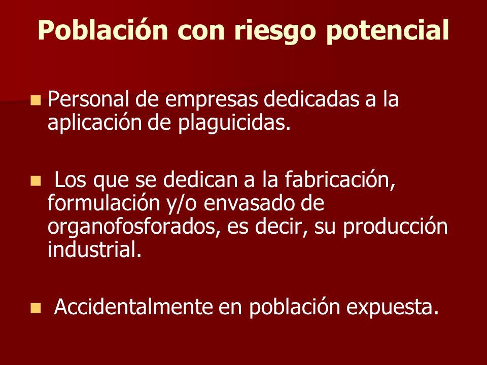 Población con riesgo potencial Personal de empresas dedicadas a la aplicación de plaguicidas. Los que se dedican a la fabricación, formulación y/o env