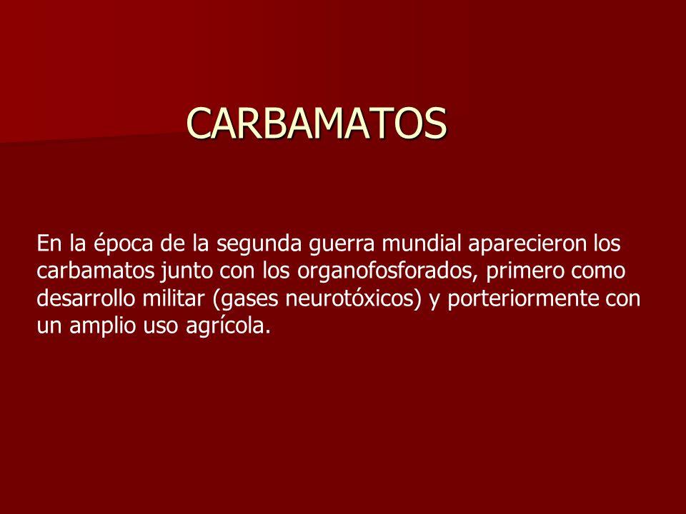 CARBAMATOS En la época de la segunda guerra mundial aparecieron los carbamatos junto con los organofosforados, primero como desarrollo militar (gases