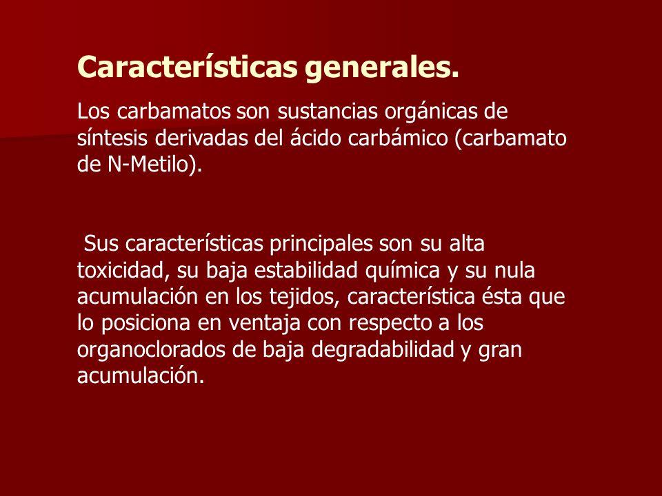 Características generales. Los carbamatos son sustancias orgánicas de síntesis derivadas del ácido carbámico (carbamato de N-Metilo). Sus característi