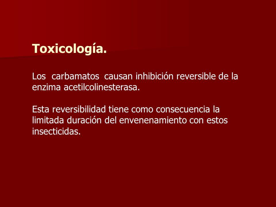 Toxicología. Los carbamatos causan inhibición reversible de la enzima acetilcolinesterasa. Esta reversibilidad tiene como consecuencia la limitada dur