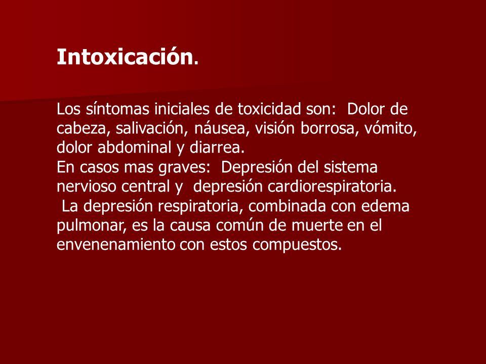Intoxicación. Los síntomas iniciales de toxicidad son: Dolor de cabeza, salivación, náusea, visión borrosa, vómito, dolor abdominal y diarrea. En caso