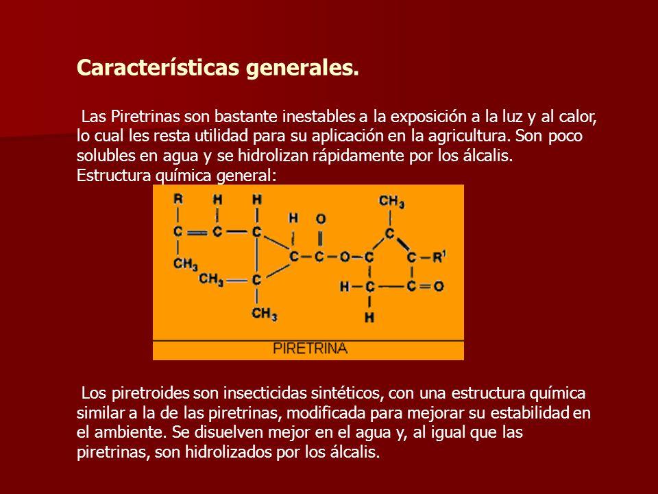 Características generales. Las Piretrinas son bastante inestables a la exposición a la luz y al calor, lo cual les resta utilidad para su aplicación e