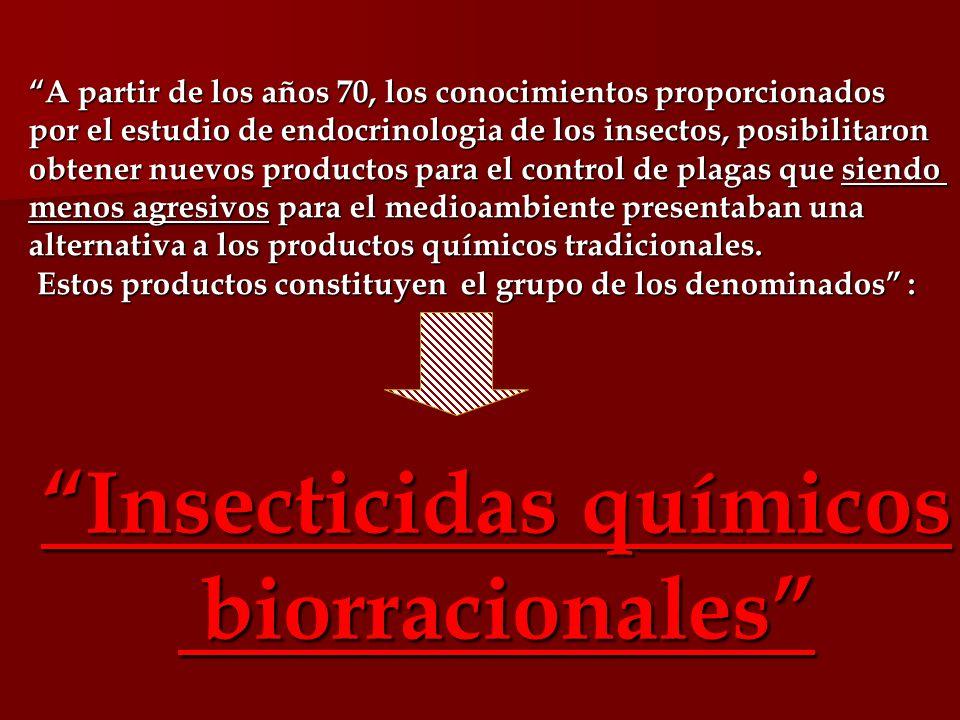 A partir de los años 70, los conocimientos proporcionados por el estudio de endocrinologia de los insectos, posibilitaron obtener nuevos productos par