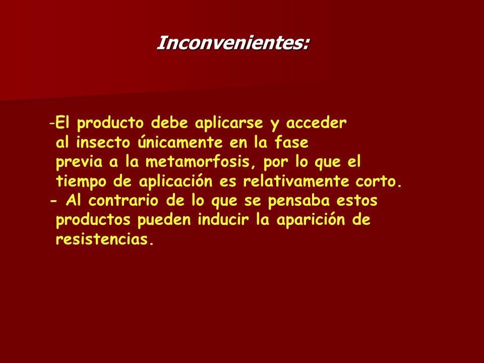 Inconvenientes:. -El producto debe aplicarse y acceder al insecto únicamente en la fase previa a la metamorfosis, por lo que el tiempo de aplicación e