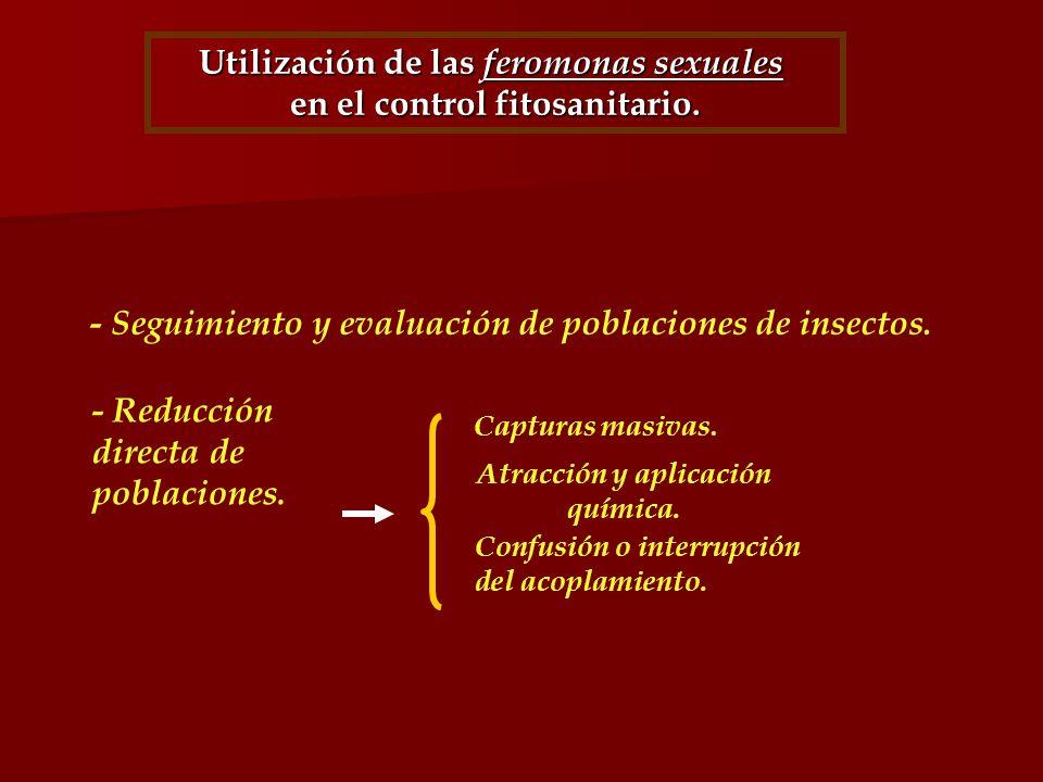 Utilización de las feromonas sexuales en el control fitosanitario. - Seguimiento y evaluación de poblaciones de insectos. - Reducción directa de pobla