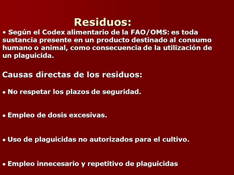 Residuos: Residuos: Según el Codex alimentario de la FAO/OMS: es toda Según el Codex alimentario de la FAO/OMS: es toda sustancia presente en un produ