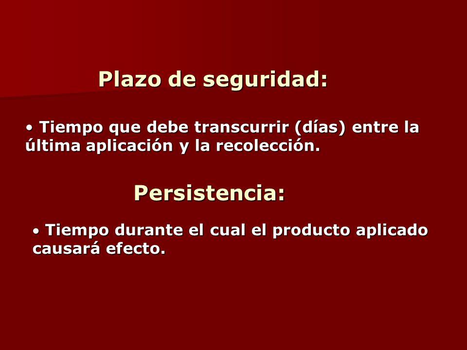 Plazo de seguridad: Plazo de seguridad: Tiempo que debe transcurrir (días) entre la Tiempo que debe transcurrir (días) entre la última aplicación y la