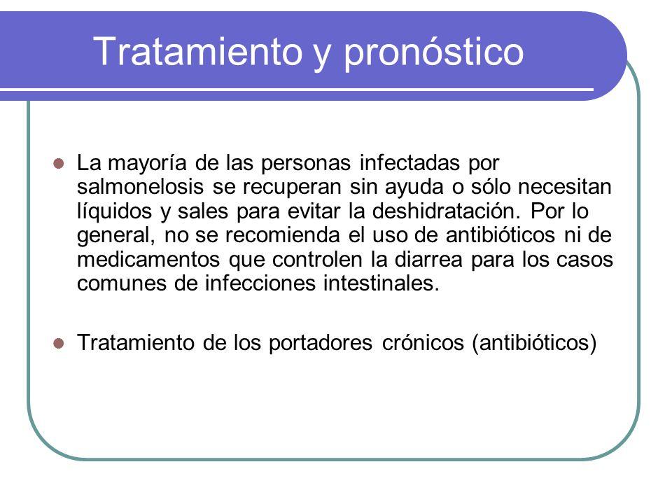 Tratamiento y pronóstico La mayoría de las personas infectadas por salmonelosis se recuperan sin ayuda o sólo necesitan líquidos y sales para evitar l