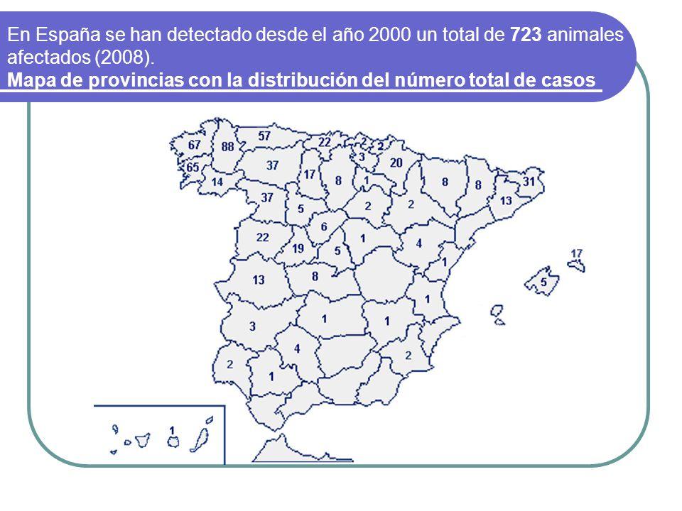 En España se han detectado desde el año 2000 un total de 723 animales afectados (2008). Mapa de provincias con la distribución del número total de cas