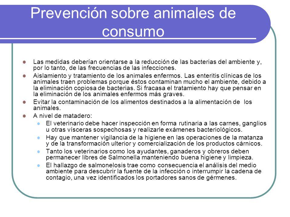 Prevención sobre animales de consumo Las medidas deberían orientarse a la reducción de las bacterias del ambiente y, por lo tanto, de las frecuencias