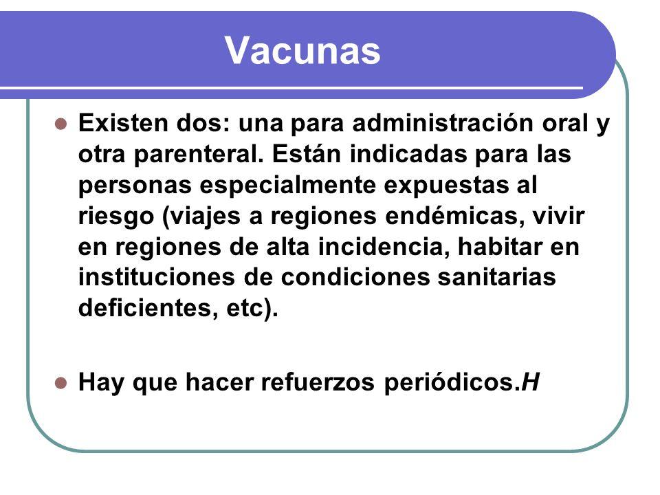 Vacunas Existen dos: una para administración oral y otra parenteral. Están indicadas para las personas especialmente expuestas al riesgo (viajes a reg