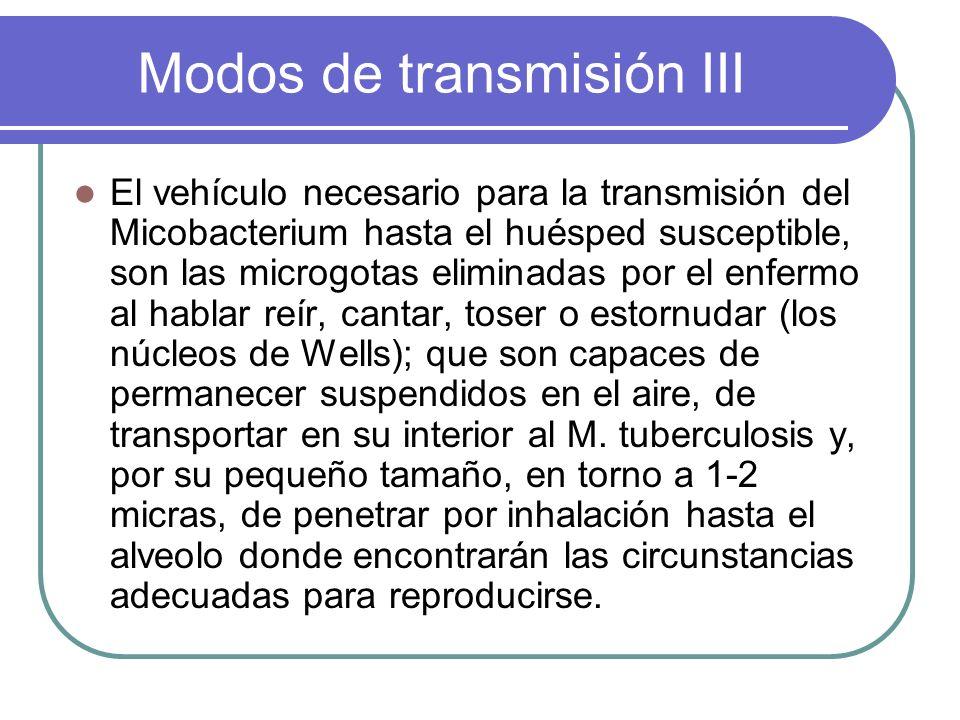 Modos de transmisión III El vehículo necesario para la transmisión del Micobacterium hasta el huésped susceptible, son las microgotas eliminadas por e