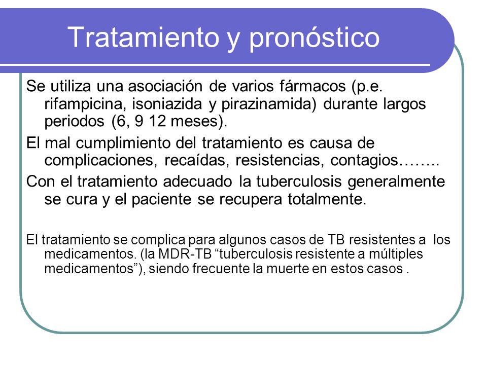 Tratamiento y pronóstico Se utiliza una asociación de varios fármacos (p.e. rifampicina, isoniazida y pirazinamida) durante largos periodos (6, 9 12 m
