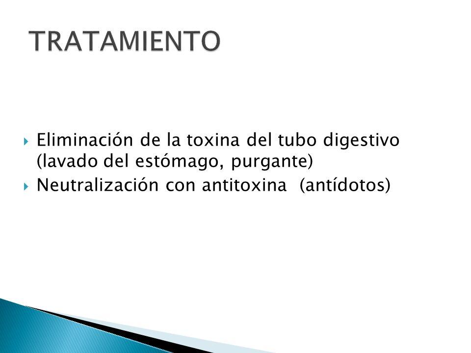 Eliminación de la toxina del tubo digestivo (lavado del estómago, purgante) Neutralización con antitoxina (antídotos)