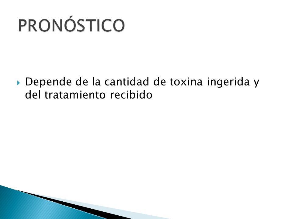 Depende de la cantidad de toxina ingerida y del tratamiento recibido