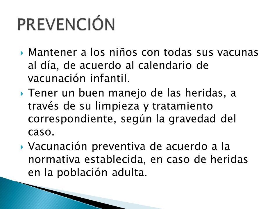 Mantener a los niños con todas sus vacunas al día, de acuerdo al calendario de vacunación infantil. Tener un buen manejo de las heridas, a través de s