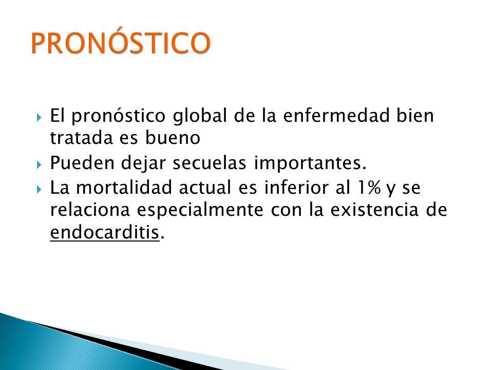 El pronóstico global de la enfermedad bien tratada es bueno Pueden dejar secuelas importantes. La mortalidad actual es inferior al 1% y se relaciona e