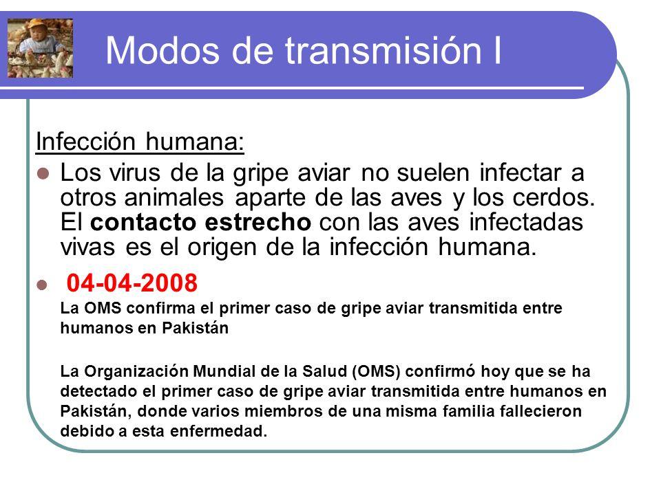 Modos de transmisión I Infección humana: Los virus de la gripe aviar no suelen infectar a otros animales aparte de las aves y los cerdos. El contacto