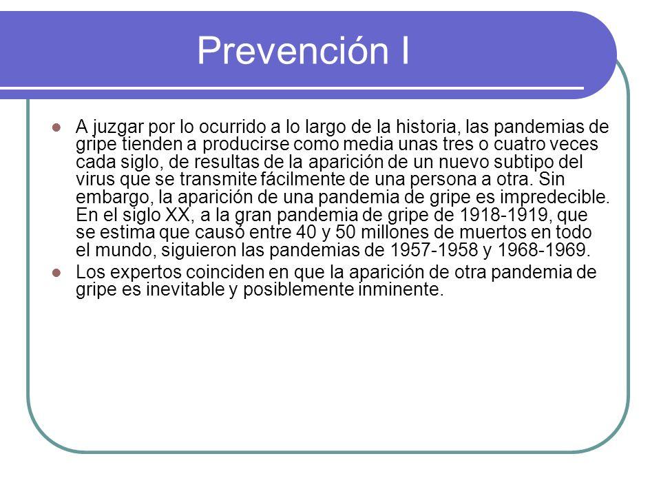 Prevención I A juzgar por lo ocurrido a lo largo de la historia, las pandemias de gripe tienden a producirse como media unas tres o cuatro veces cada