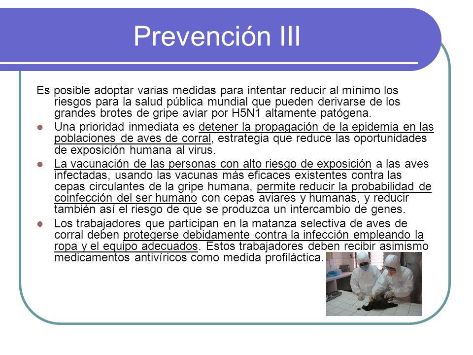 Prevención III Es posible adoptar varias medidas para intentar reducir al mínimo los riesgos para la salud pública mundial que pueden derivarse de los