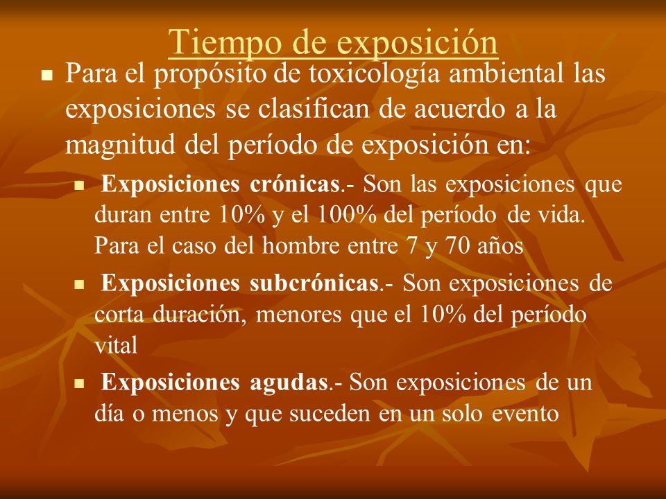 Para el propósito de toxicología ambiental las exposiciones se clasifican de acuerdo a la magnitud del período de exposición en: Exposiciones crónicas