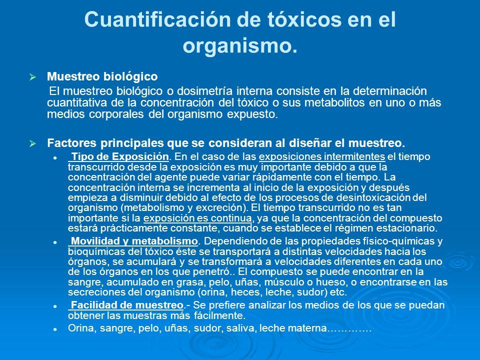 Cuantificación de tóxicos en el organismo. Muestreo biológico El muestreo biológico o dosimetría interna consiste en la determinación cuantitativa de