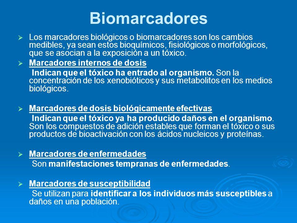 Biomarcadores Los marcadores biológicos o biomarcadores son los cambios medibles, ya sean estos bioquímicos, fisiológicos o morfológicos, que se asoci