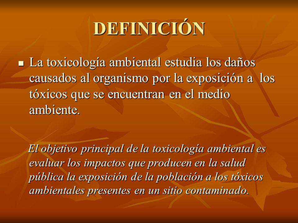 DEFINICIÓN La toxicología ambiental estudia los daños causados al organismo por la exposición a los tóxicos que se encuentran en el medio ambiente. La