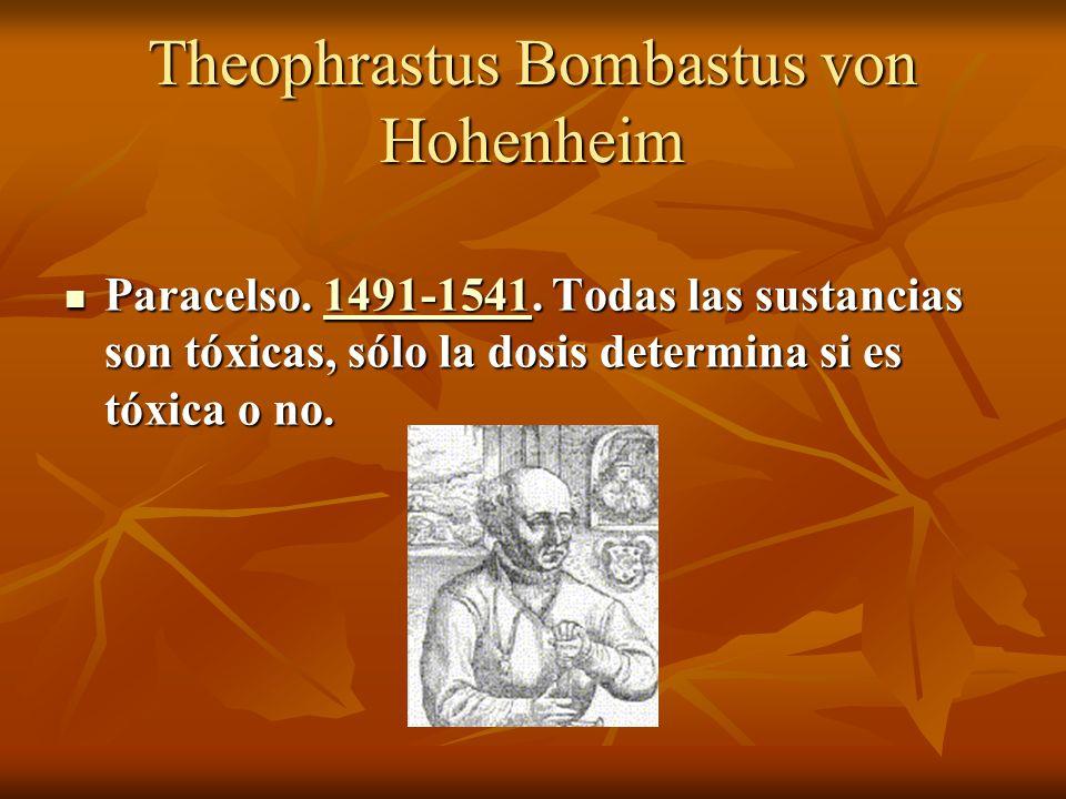 Theophrastus Bombastus von Hohenheim Paracelso. 1491-1541. Todas las sustancias son tóxicas, sólo la dosis determina si es tóxica o no. Paracelso. 149