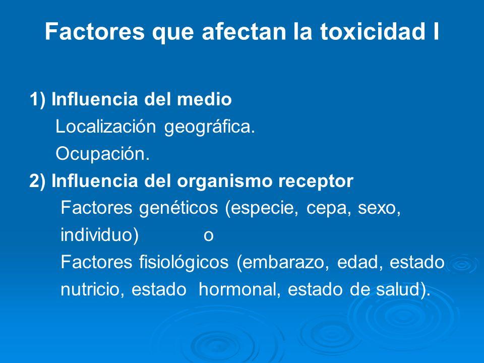 Factores que afectan la toxicidad I 1) Influencia del medio Localización geográfica. Ocupación. 2) Influencia del organismo receptor Factores genético