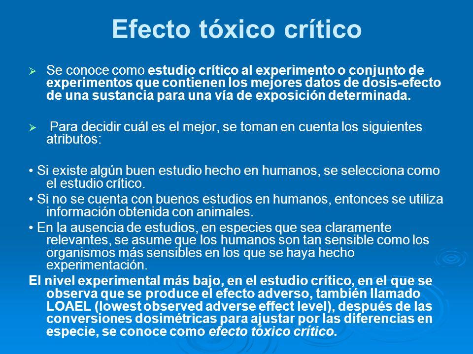 Efecto tóxico crítico Se conoce como estudio crítico al experimento o conjunto de experimentos que contienen los mejores datos de dosis-efecto de una
