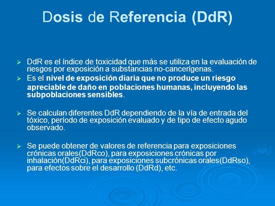 Dosis de Referencia (DdR) DdR es el índice de toxicidad que más se utiliza en la evaluación de riesgos por exposición a substancias no-cancerígenas. E