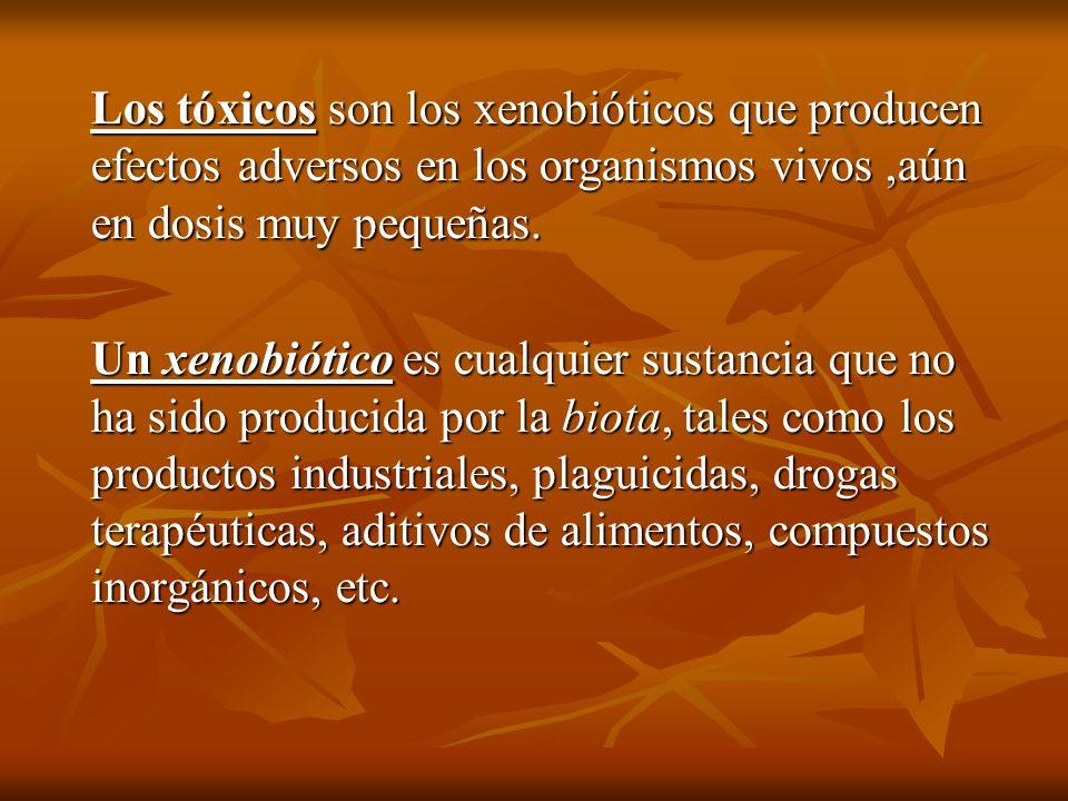 Los tóxicos son los xenobióticos que producen efectos adversos en los organismos vivos,aún en dosis muy pequeñas. Un xenobiótico es cualquier sustanci