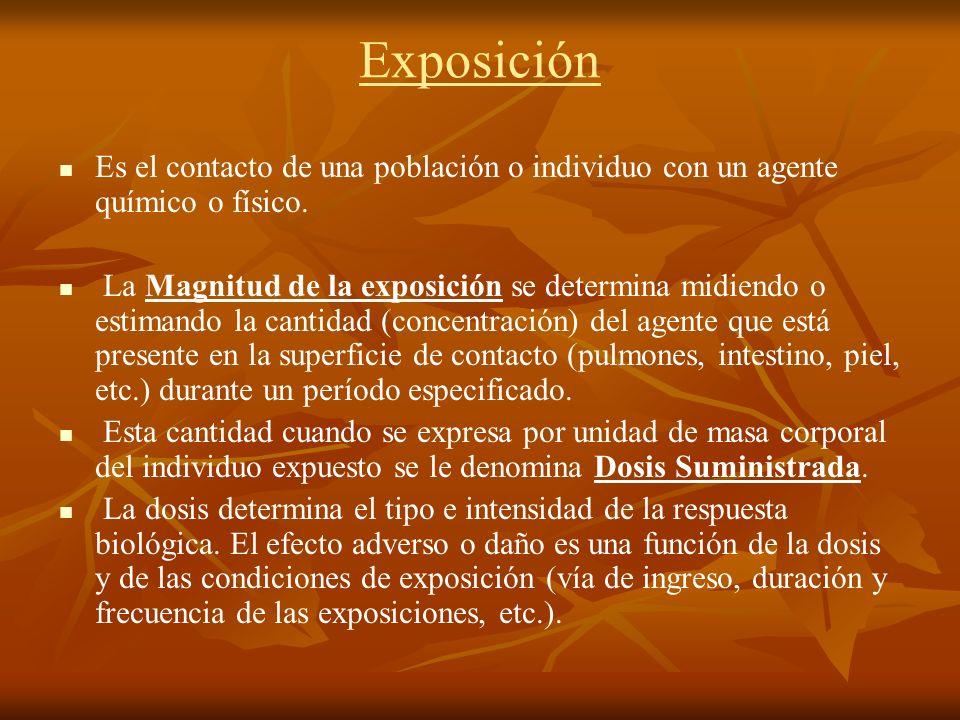 Exposición Es el contacto de una población o individuo con un agente químico o físico. La Magnitud de la exposición se determina midiendo o estimando