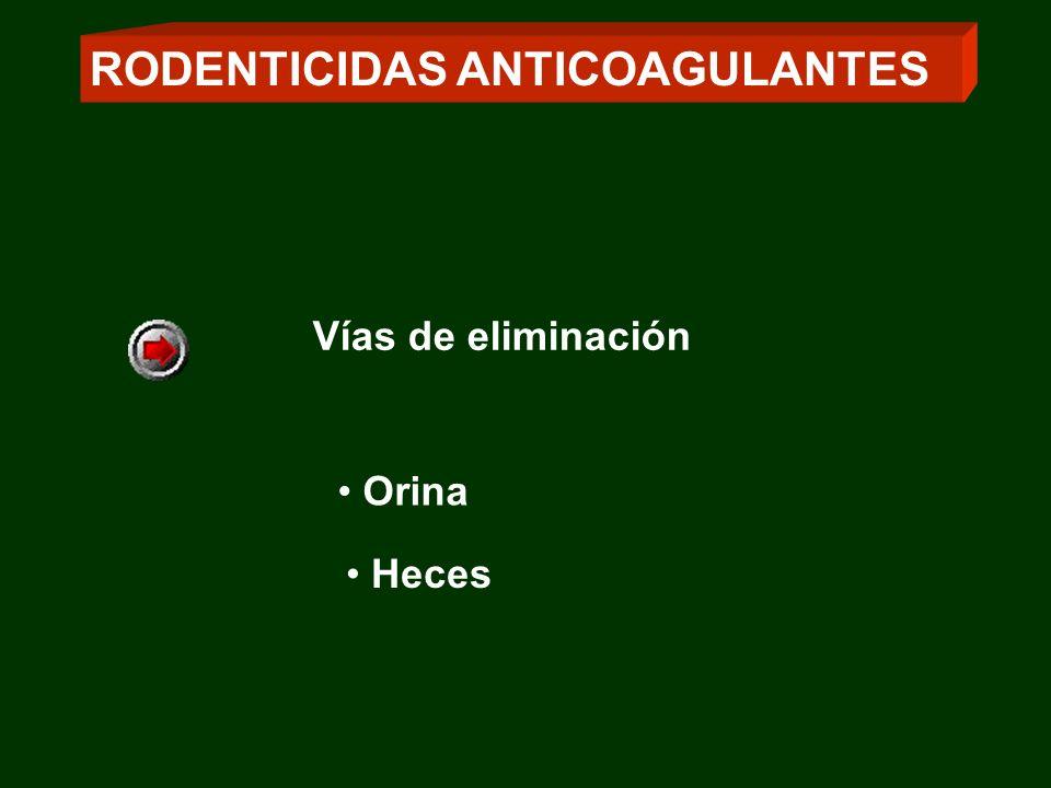 RODENTICIDAS ANTICOAGULANTES Orina Heces Vías de eliminación