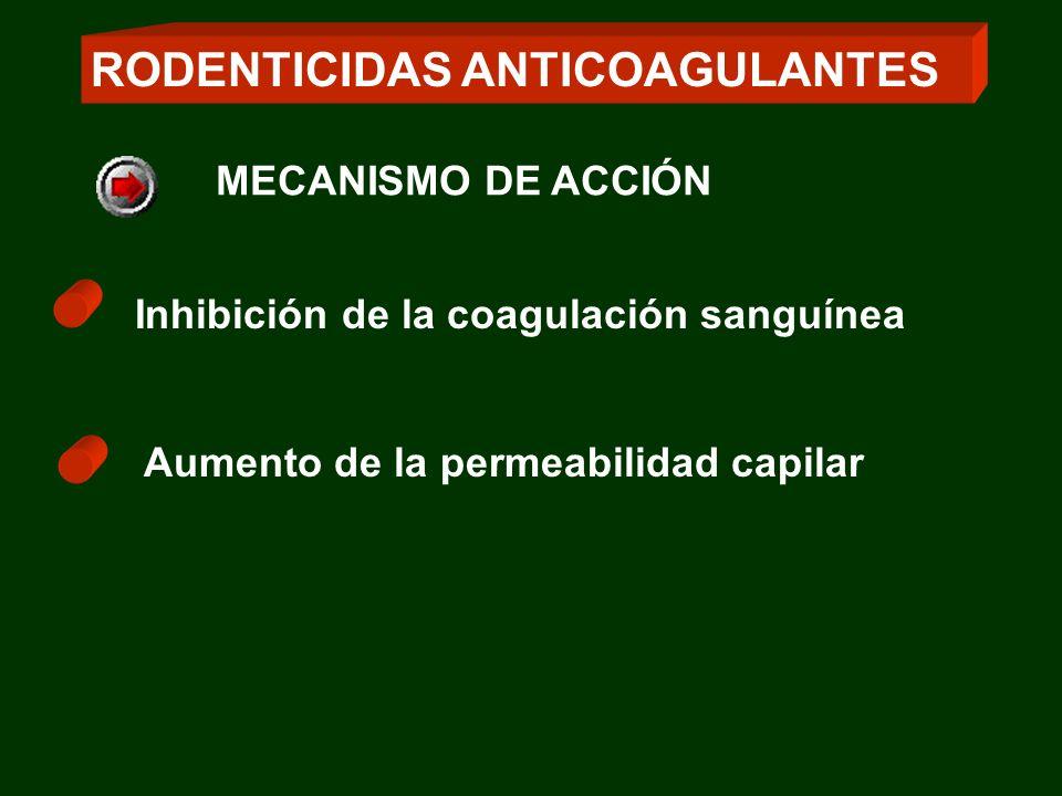 Inhibición de la coagulación sanguínea Aumento de la permeabilidad capilar RODENTICIDAS ANTICOAGULANTES MECANISMO DE ACCIÓN