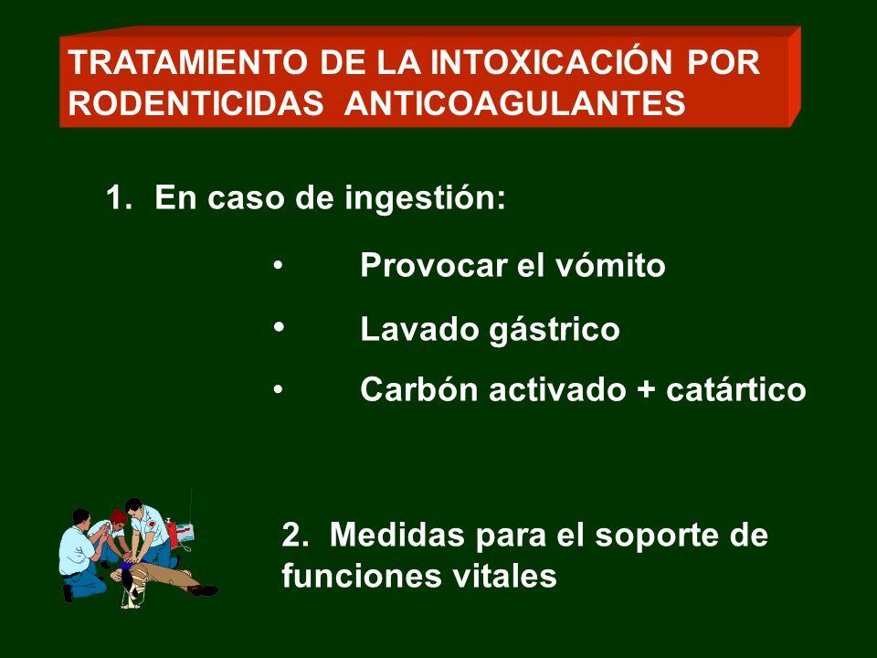 2. Medidas para el soporte de funciones vitales 1.En caso de ingestión: Provocar el vómito Lavado gástrico Carbón activado + catártico TRATAMIENTO DE