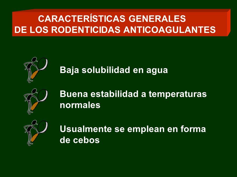 Los productos de segunda generación (superwarfarínicos) producen un efecto anticoagulante profundo y prolongado (semanas a meses después de una simple ingestión) CARACTERÍSTICAS GENERALES DE LOS RODENTICIDAS ANTICOAGULANTES
