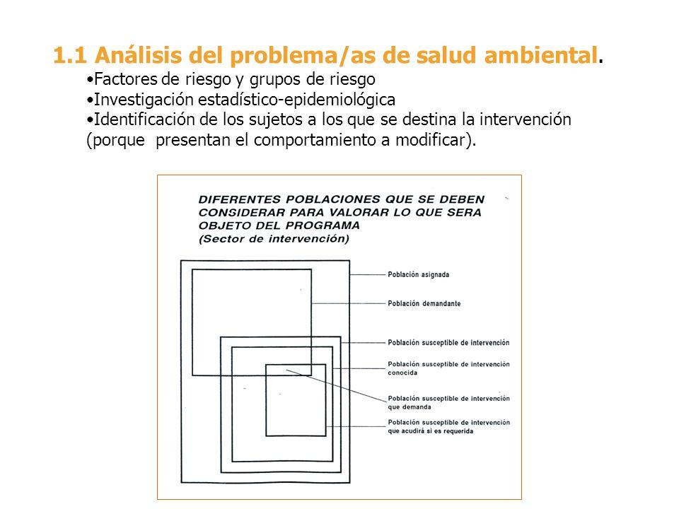 1.1 Análisis del problema/as de salud ambiental. Factores de riesgo y grupos de riesgo Investigación estadístico-epidemiológica Identificación de los