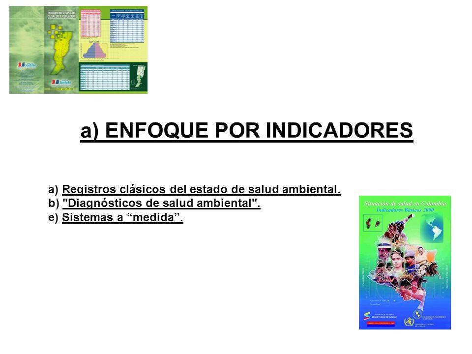 a) ENFOQUE POR INDICADORES a) Registros clásicos del estado de salud ambiental. b)