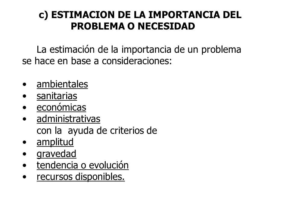 c) ESTIMACION DE LA IMPORTANCIA DEL PROBLEMA O NECESIDAD La estimación de la importancia de un problema se hace en base a consideraciones: ambientales