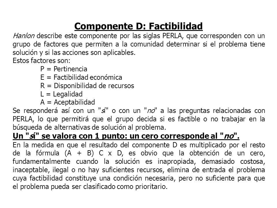 Componente D: Factibilidad Hanlon describe este componente por las siglas PERLA, que corresponden con un grupo de factores que permiten a la comunidad