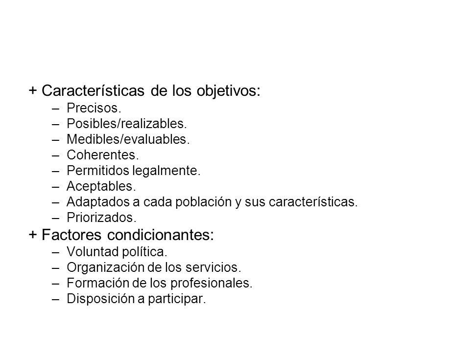 + Características de los objetivos: –Precisos. –Posibles/realizables. –Medibles/evaluables. –Coherentes. –Permitidos legalmente. –Aceptables. –Adaptad