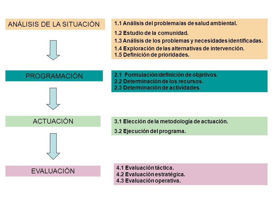 ANÁLISIS DE LA SITUACIÓN PROGRAMACIÓN ACTUACIÓN EVALUACIÓN 1.1 Análisis del problema/as de salud ambiental.