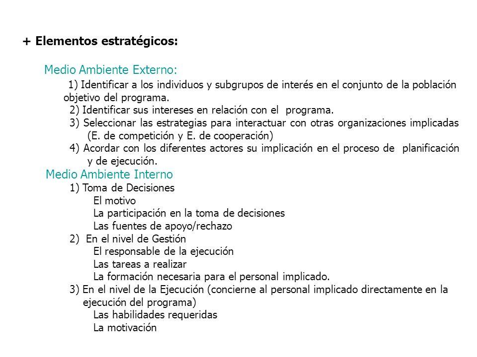 + Elementos estratégicos: Medio Ambiente Externo: 1) Identificar a los individuos y subgrupos de interés en el conjunto de la población objetivo del p