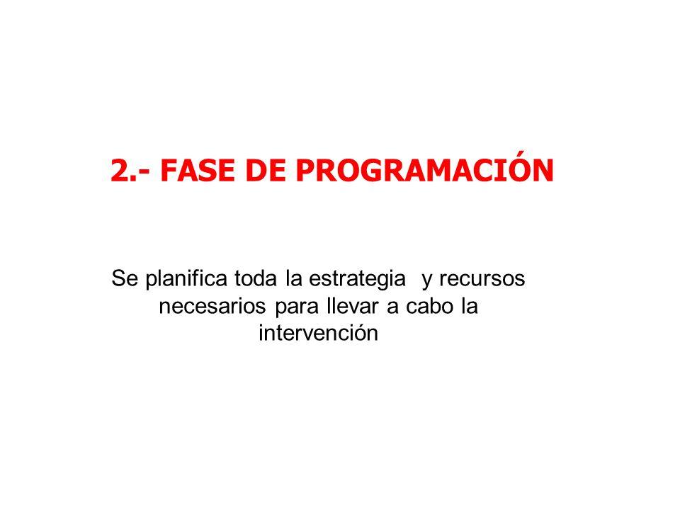 2.- FASE DE PROGRAMACIÓN Se planifica toda la estrategia y recursos necesarios para llevar a cabo la intervención
