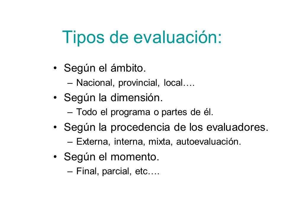 Tipos de evaluación: Según el ámbito. –Nacional, provincial, local…. Según la dimensión. –Todo el programa o partes de él. Según la procedencia de los