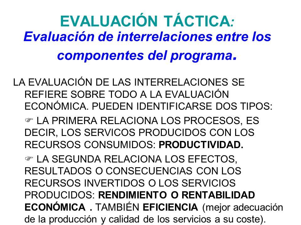EVALUACIÓN TÁCTICA : Evaluación de interrelaciones entre los componentes del programa. LA EVALUACIÓN DE LAS INTERRELACIONES SE REFIERE SOBRE TODO A LA